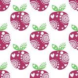Naadloos vectorpatroon met roze decoratieve sier mooie aardbeien en punten op de witte achtergrond Royalty-vrije Stock Afbeelding