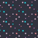 Naadloos vectorpatroon met roze, mintm beige sterren op donkere grijze achtergrond Stock Afbeelding