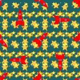 Naadloos vectorpatroon met ruimteelementen Stock Illustratie