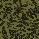 Naadloos vectorpatroon met varens in camouflagekleuren vector illustratie