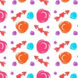 Naadloos vectorpatroon met verschillende pijlen en cirkels, kleurrijk op wit Getrokken hand Vector vector illustratie