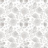 Naadloos vectorpatroon met zwarte decoratieve sier mooie aardbeien en punten op de witte achtergrond Royalty-vrije Stock Fotografie