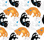 Naadloos vectorpatroon met zwarte, witte en rode katten Royalty-vrije Stock Foto's