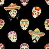 Naadloos vectorpatroon Suikerschedel Mannelijke Mexicaanse zwarte snor met zwart haar dat in vlechten wordt verzameld royalty-vrije illustratie