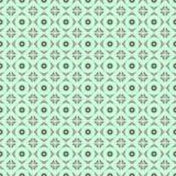 Naadloos vectorpatroon Symmetrische geometrische abstracte achtergrond met ruit en cirkels in turkooise kleuren Stock Afbeelding
