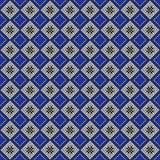 Naadloos vectorpatroon Symmetrische geometrische abstracte achtergrond met vierkanten in blauwe, zwart-witte kleuren stock illustratie