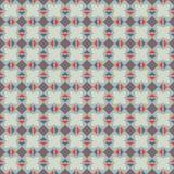 Naadloos vectorpatroon Symmetrische geometrische abstracte achtergrond met vierkanten, rechthoeken en lijnen in blauwe en rode kl Stock Fotografie
