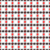 Naadloos vectorpatroon Symmetrische geometrische abstracte achtergrond met vierkanten, rechthoeken en lijnen in zwart, wit, rood  Stock Foto