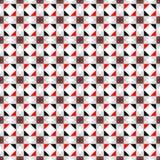 Naadloos vectorpatroon Symmetrische geometrische abstracte achtergrond met vierkanten, rechthoeken en lijnen in zwarte, witte, ro Stock Afbeelding