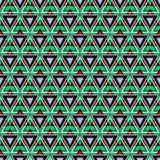 Naadloos vectorpatroon Symmetrische geometrische achtergrond met driehoeken in groene, zwarte en rode kleuren Decoratieve het her Stock Afbeeldingen