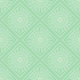 Naadloos vectorpatroon Symmetrische geometrische achtergrond met groene ruiten en cirkels Decoratief ornament Stock Foto