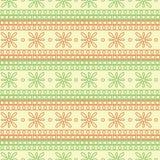 Naadloos vectorpatroon Symmetrische geometrische achtergrond met rode en groene vierkanten en bloemen op de witte achtergrond Stock Afbeeldingen