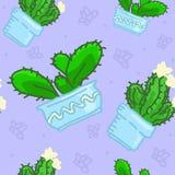 Naadloos vectorpatroon van getrokken cactus royalty-vrije illustratie