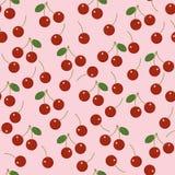 Naadloos vectorpatroon van kersen op roze achtergrond royalty-vrije stock afbeeldingen