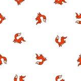 Naadloos vectorpatroon van leuke brandvos Stock Fotografie