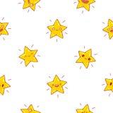 Naadloos vectorpatroon van leuke gele sterren royalty-vrije illustratie