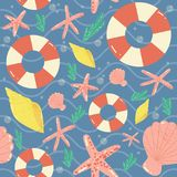 Naadloos vectorpatroon van zeeschelpen Royalty-vrije Stock Foto