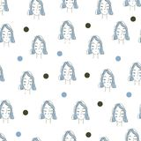 Naadloos vectorpatroon Vectorillustratie met vrouw Royalty-vrije Stock Foto's