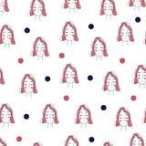 Naadloos vectorpatroon Vectorvrouw met rood haar Royalty-vrije Stock Foto's