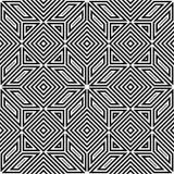 Naadloos vectorpatroon, zwart-wit, vierkant mozaïek Royalty-vrije Stock Afbeeldingen