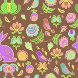 Naadloos vectorpatroonkonijntje in een de lentetuin Stock Afbeeldingen