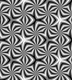Naadloos Veelhoekig Zwart-wit Spiraalvormig Patroon Geometrische abstracte achtergrond Stock Afbeelding