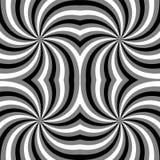 Naadloos Veelhoekig Zwart-wit Spiraalvormig Patroon Geometrische abstracte achtergrond Geschikt voor textiel, stof en verpakking Stock Afbeelding