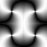 Naadloos Veelhoekig Zwart-wit Spiraalvormig Patroon Geometrische abstracte achtergrond Geschikt voor textiel, stof en verpakking Royalty-vrije Stock Fotografie