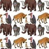 Naadloos velen type van wilde dieren stock illustratie