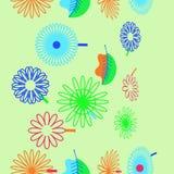 Naadloos verticaal patroon van bloemenmotief, bloemen, bladeren, dood stock afbeeldingen