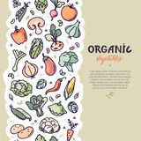Naadloos verticaal veganistpatroon met groenten stock illustratie