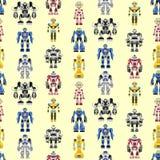 Naadloos vierkant robotspatroon royalty-vrije illustratie