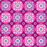 Naadloos violet patroon met bloemen in de cirkels Stock Afbeelding