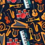 Naadloos vlak muzikaal instrumentenpatroon stock illustratie