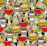 Naadloos voedselpatroon Stock Foto's