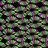 Naadloos watercolourpatroon met retro groene 3 kleurenbloemen op zwarte vector illustratie