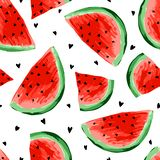 Naadloos watermeloenenpatroon Plakken van watermeloen, bessenachtergrond Geschilderd fruit, grafische kunst, beeldverhaal royalty-vrije illustratie
