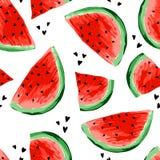 Naadloos watermeloenenpatroon Plakken van watermeloen, bessenachtergrond Geschilderd fruit, grafische kunst, beeldverhaal vector illustratie