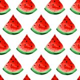 Naadloos watermeloenenpatroon Plakken van watermeloen, bessenachtergrond Geschilderd fruit, grafische kunst, beeldverhaal stock illustratie