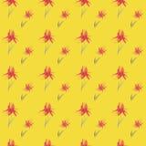 Naadloos waterverf bloemenpatroon op gele achtergrond royalty-vrije illustratie