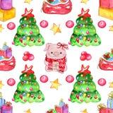 Naadloos waterverfpatroon De elementen van Kerstmis royalty-vrije illustratie