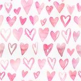 Naadloos waterverfpatroon met kleurrijke harten - romantische lichte en zachte tinten van roze en rood Stock Fotografie