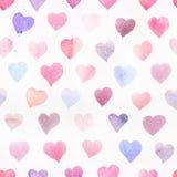 Naadloos waterverfpatroon met kleurrijke harten - romantische lichte en zachte tinten van roze en rood Royalty-vrije Stock Afbeeldingen