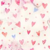 Naadloos waterverfpatroon met kleurrijke harten - romantische lichte en zachte tinten van roze en rood Royalty-vrije Stock Foto's