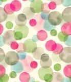 Naadloos waterverfpatroon met overlapte kleurrijke punten - rode, groene, grijze tinten royalty-vrije illustratie