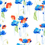 Blauwe en rode papaver stock illustratie