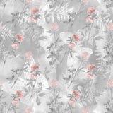 Naadloos waterverfpatroon met takken en bloemen van klaver op een lichtgrijze achtergrond stock illustratie