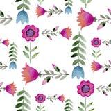 Naadloos waterverfpatroon van wildflowers Stock Afbeelding