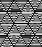 Naadloos Wit en Zwart Gestreept Driehoekspatroon Veelhoekige Geometrische Abstracte Achtergrond Geschikt voor textiel, stof royalty-vrije illustratie