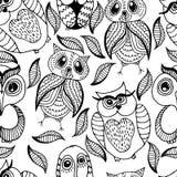 Naadloos wit en zwart patroon van vier verschillende uilen Royalty-vrije Stock Foto's